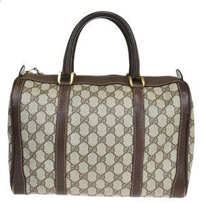GUCCI GG Pattern Hand Bag PVC Leather Brown Made I